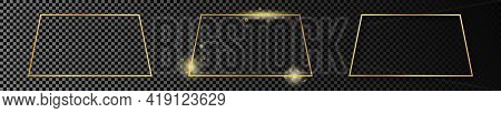 Set Of Three Gold Glowing Trapezoid Shape Frames Isolated On Dark Transparent Background. Shiny Fram