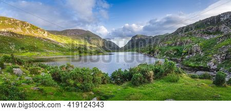 Large Panorama With Black Lake Valley And Mountains At Sunset In Gap Of Dunloe, Black Valley, Macgil