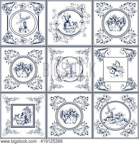 Delft Blue Kitchen And Fireplace Tiles Used All Over The World Icons Collection Abstract Isolated Ve