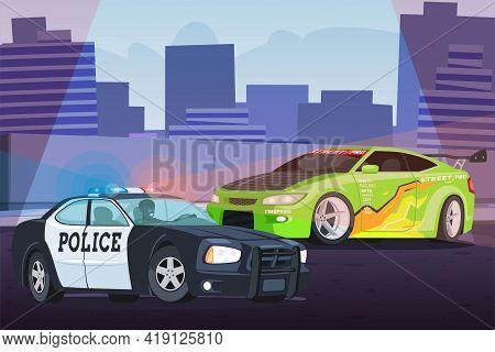 Street Racing In City Scene With Chasing Police
