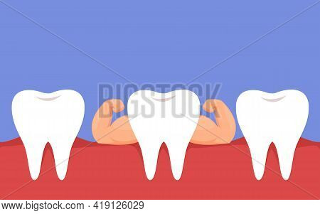 Healthy Strong White Teeth. The Concept Of Healthy Proper Oral Care. Dentistry And Caries Treatment.