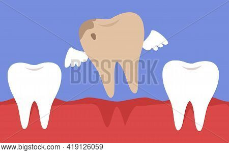 A Rotten Tooth With Wings Flies Out Of The Mouth. The Concept Of Healthy Proper Oral Care. Dentistry