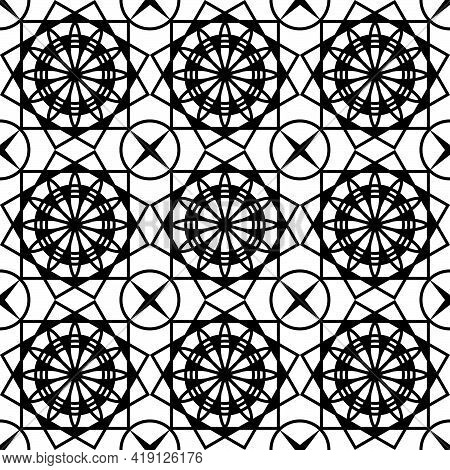 Seamless Black Pattern In The Form Of A Geometrically Symmetrical Mesh For Screen Printing On Fabric