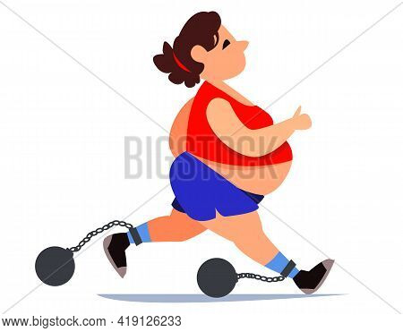 Fat Fat Woman In A Tracksuit And Shorts Is Running. Doing Sports For Health. Weights Are Chained To