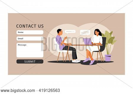 Job Interview Concept. Contact Us Form. Interview With Human Resources. Vector Illustration. Flat.