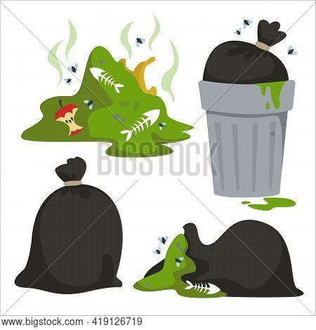 Set Of Elements Related To Garbage And Environmental Pollution. World Earth Pollution Day. Trash Can