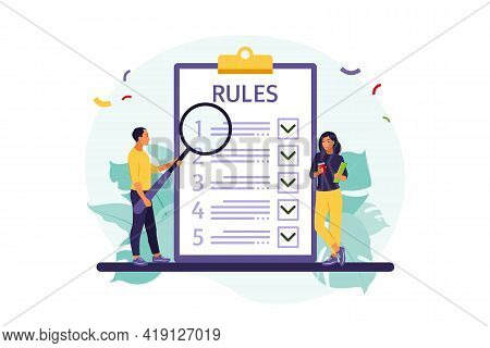 People Studying List Of Rules, Making Checklist, Reading Guidance. Vector Illustration. Flat Style
