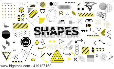 Geometric Sign, Shapes, Elements In Memphis Style. Universal Graphics Design Elements, Trendy Retrof