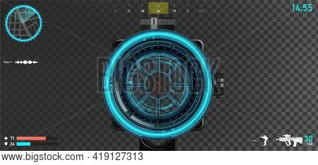 First Person Shooter Layout, Sniper Scope With Hologram Hood And Game Interface Elements - Mini Map,