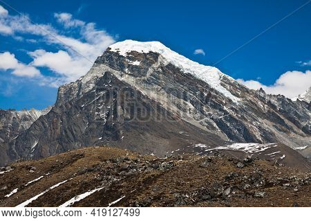 Mountains In Himalayas In A Sunny Day. Trek To Everest Base Camp. Nepal