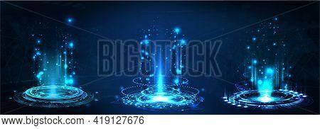 Fantastic Circle Portals, Holograms Teleport Gadgets. Sci-fi Digital Hi-tech Elements For Presentati