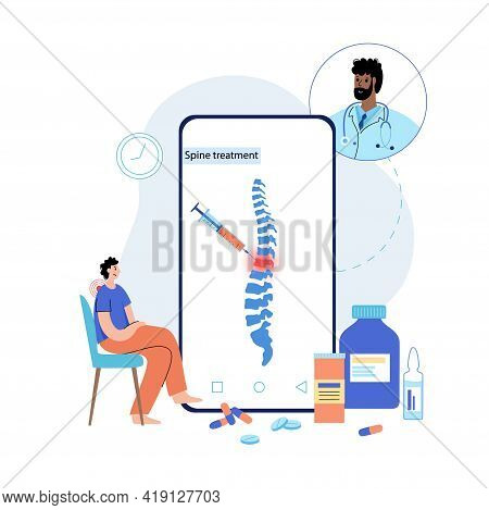 Spine Joint Injection. Medical App On Phone. Backbone Treatment Vector Illustration For Online Clini