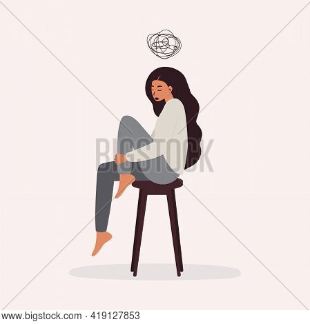 A Flat Vector Cartoon Illustration Of A Woman In A Depressed Mood, Sitting On A Chair And Holding He