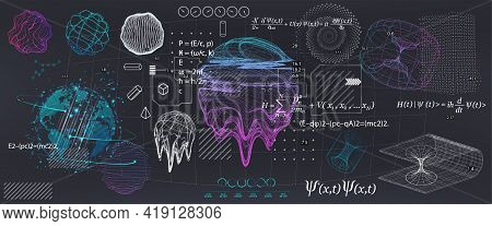 Abstract Science Elements With Fundamental Quantum Mechanics Formulas. Curvature Of Spacetime In A G