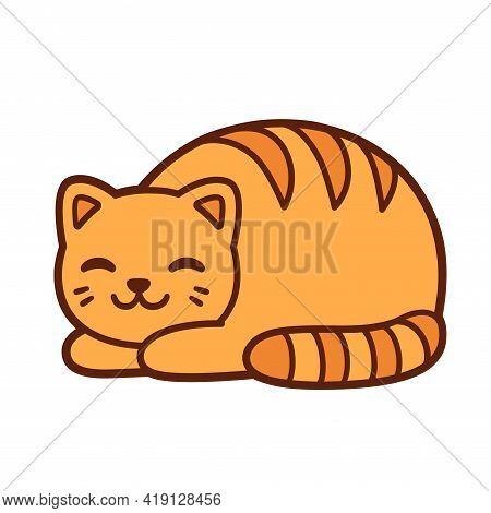 Cat Loaf, Cute Orange Cat That Looks Like A Loaf Of Bread. Simple Cartoon Drawing, Vector Illustrati