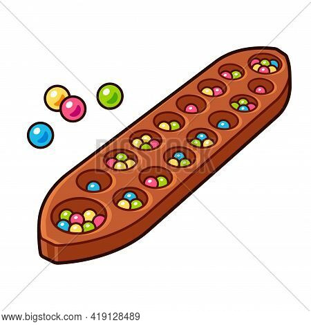 Congkak, Southeast Asian Mancala. Traditional Table Game In Indonesia And Malaysia. Cartoon Drawing,