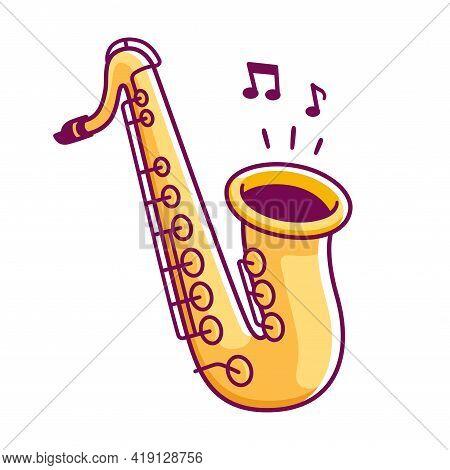 Cartoon Saxophone Drawing. Isolated Vector Clip Art Illustration.