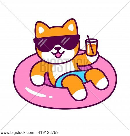 Funny Cartoon Dog In Sunglasses On Pool Float Holding Drink Glass. Cute Shiba Inu Character On Summe