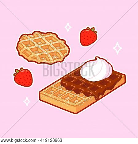 Two Types Of Traditional Belgian Waffles: Liege Waffle And Brussels Waffle. Topped With Powdered Sug