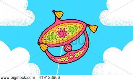 Wau Bulan, Traditional Malay Moon Kite, Flying In The Sky. Symbol Of Malaysia. Cute Cartoon Drawing,