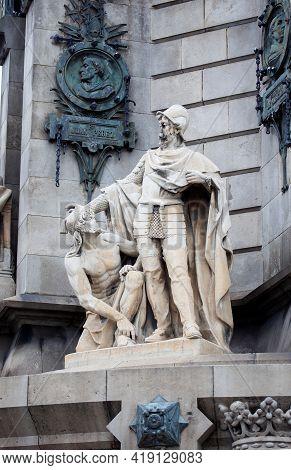 Barcelona, Spain - October 26, 2015: Detail Of Columbus Monument On The Square Portal De La Pau, At