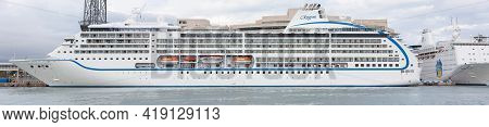 Barcelona, Spain - October 26, 2015: Seven Seas Mariner, A Cruise Ship Operated By Regent Seven Seas