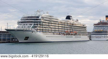 Barcelona, Spain - October 26, 2015: Mv Viking Star, A Viking Star Class Cruise Ship Operated By Vik