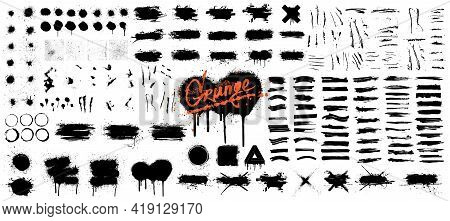 Diverse Set Of Black Paint - Ink Brush Strokes, Brushes, Lines, Spray, Ink Splash , Mud And Other Di
