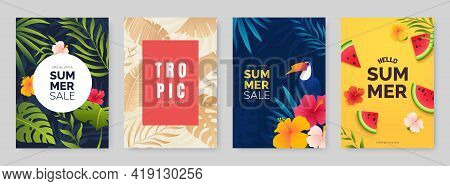 Summer Poster Collection. Poster Designs With Tropical Leaves, Plants And Flowers. Season Sale Banne