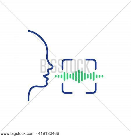 Voice And Speech Recognition Line Icon. Scan Voice Command Icon With Sound Wave. Voice Control. Spea