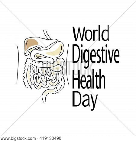 World Digestive Health Day, Schematic Representation Of Individual Elements Of The Digestive System,