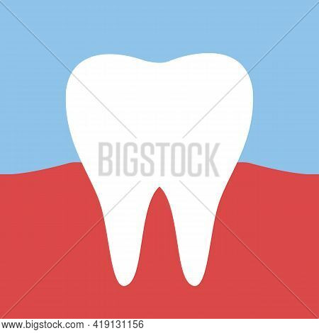 The Tooth Is White Healthy. The Concept Of Healthy Proper Oral Care. Dentistry And Veneers. Vector I