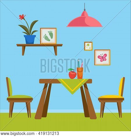 A Set Of Furniture For The Toddler S Room. Room For Drawing. Interior Items Such As A Table, Chair A