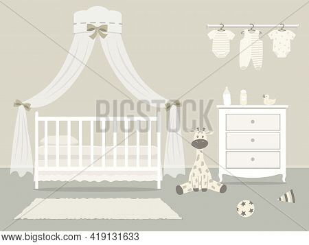Kid's Room For A Newborn Baby. Interior Bedroom For A Child In A Beige Color. There Is A Cot With Ca