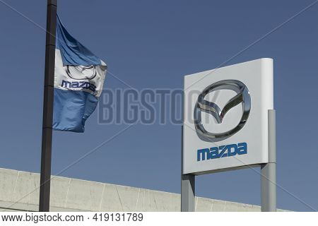 Westfield - Circa May 2021: Mazda Car And Suv Dealership. Mazda Has Been At The Forefront Of Engine