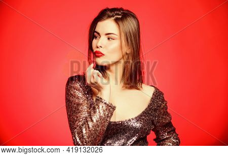 Love And Romance. Valentines Day Sales. Sexy Woman In Glamour Dress. Sensual Girl With Decorative He