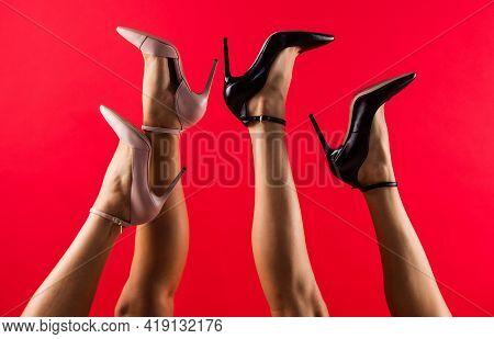 Female Feet In Comfortable High Heeled Shoes, Footwear
