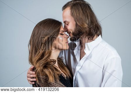 Family Values And Relationship. Cheerful Couple In Love. Romantic Relations Of Man And Woman. Love I
