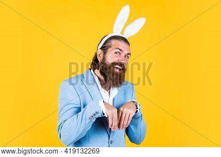Well Groomed Man In Wedding Formalwear And Bunny Ears Has Beard, Happy Easter