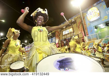 Salvador, Bahia, Brazil - February 14, 2015: Percussionists From The Band Dida Are Seen During A Car