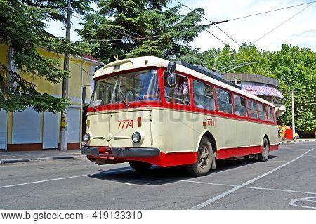 Alushta, Crimea, Ukraine - Jun 01, 2013: Crimean Vintage Trolleybus Shkoda 9tr On The Road On June 0