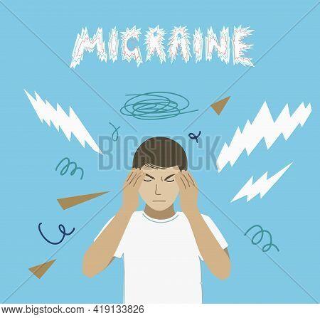 Man With Migraine Headache And Aura. Vector Illustration
