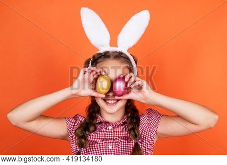Lets Have Fun. Happy Easter. Childhood Happiness. Child Hold Paited Eggs. Time For Fun.