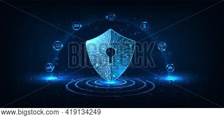 Digital Data Protection Concept.security Shield Icon Digital Display Over On Dark Blue Background.te