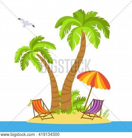 Tropical Beach Flat Cartoon Island. Palm Trees And Sea Sand, Ocean Landscape, Beach Chairs, Glasses