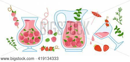 Cocktail Raspberry Cartoon Cozy Set, Glass, Herbs. Berry Drink In Transparent Teapot With Ingredient