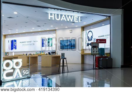 Roi Et, Thailand - April 10, 2021 : Huawei Store In The Robinson Department Store. Huawei Stores Sel