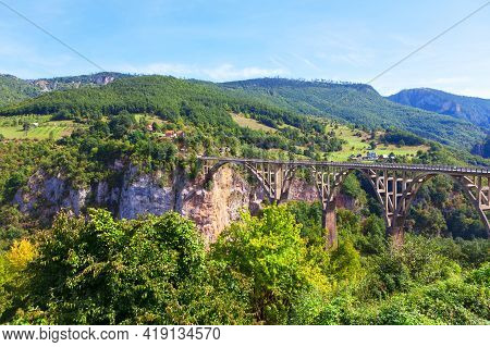 Durdevica Tara Bridge Famous Place In Montenegro .  Biggest Canyon In Europe In The National Park Du