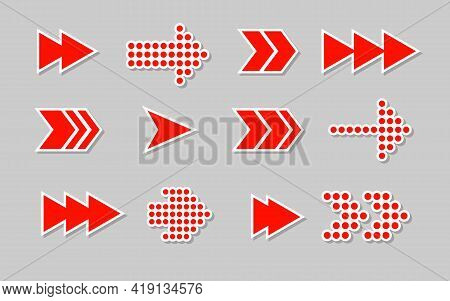 Flat Red Paper Arrow Stickers With Shadows, Icons Set. Cursor Labels, Navigation Sign Pictogram. Sal