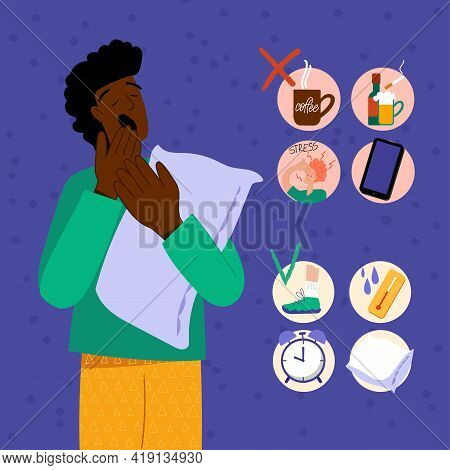 Insomnia. A Black Man Cannot Sleep.. Male Character Suffers From Insomnia. Sleep Disorder, Sleepless